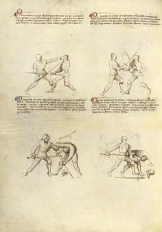 Combat with Sword Artist/Maker(s): Fiore Furlan dei Liberi da Premariacco, author [Italian, about 1340/1350 - before 1450] Date: about 1410 Medium: Tempera colors, gold leaf, silver leaf, and ink on parchment Dimensions: Leaf: 27.9 x 20.6 cm (11 x 8 1/8 in.) Object Number: 83.MR.183.33v Department: Manuscripts