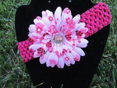 Pink Ladybug Gerbera Daisy Headband by SimplyShabbiandChic on Etsy, $4.00