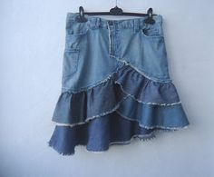 Blue Denim Ruffle Skirt Upcycled Jeans Three Tier by VintageAgency, $25.00