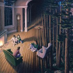 Rob Gonsalves creates surreal optical illusion art that imagines the world with magical realism. The dreamy images contain two or more scenarios within. Optical Illusion Paintings, Amazing Optical Illusions, Magic Illusions, Illusion Kunst, Illusion Art, Rene Magritte, Canadian Painters, Canadian Artists, Robert Gonsalves