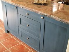 Country Blue Painting Kitchen Cabinets Ideas With Tile Floor And Marble Material Blue With Interior Kitchen Design Blue Kitchen Cabinets, Painting Kitchen Cabinets, Kitchen Paint, Kitchen Redo, Kitchen Remodel, Red Cabinets, Kitchen Island, Kitchen Units, Kitchen Ideas