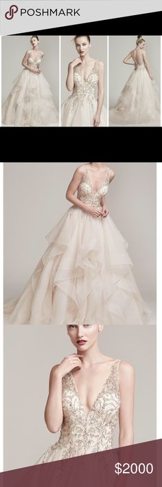 Maggie Sottero Wedding dress Amelie ball gown with horsehair layered skirt, featuring a breathtaking bodice adorned with Swarovski crystals and pearls, plunging illusion V-neckline and back. Finished with lace up corset back ,Champagne (pictured) Dresses Wedding