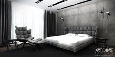 Nowoczesna sypialnia.  #sypialnia #projektowaniewnetrz #nowoczesnasypialnia #interiordesignideas #bedroom #industrialbedroom