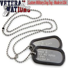 Military Dog Tag - Custom Made with Your Information — Veteran Nations Store Gamer Tags, Firefighter Paramedic, Dog Boarding Near Me, Custom Dog Tags, Dog Tags Military, Embossing Machine, Anniversary Dates, Alphabet And Numbers, Custom Metal