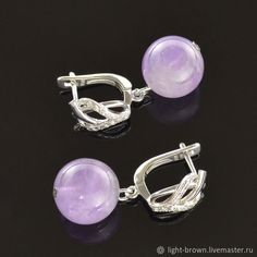 Materials: amethyst, lavender amethyst, amethyst stone, rhodium ear wires, cubic zirconia, cubic zirconia inserts, natural amethyst Size: The length of the earring is about 30 mm ##handmade Amethyst Earrings, Wire Earrings, Stone Earrings, Cubic Zirconia Earrings, Close Up Photos, Amethyst Stone, Lavender, Natural, Handmade