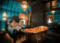 An eccentric stay in a room or suite at an iconic boutique hotel, with champagne and breakfast