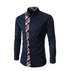 LUO YI Fashion Korean Slim Fit Check Splice Long Sleeve Shirt(White, Navy Blue) 2016 - $11.89