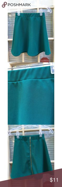 ✨ Gorgeous deep green high waisted skater skirt - Gorgeous deep green high waisted skater skirt - awesome green color adds a perfect pop of color to any outfit  - Zips all the way up the back, gold zipper - Elastic waist band  - Worn a few times but still in great condition, looks new  - Material is light weight and comfortable  - Brand: B Jewel/ Boutique  - Size: XS  *20% off 2+ * Make me an offer!! Boutique Skirts Circle & Skater