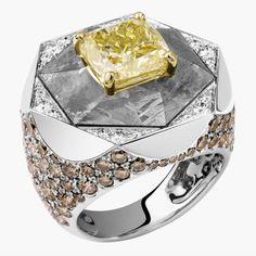 Кольцо с метеоритом и бриллиантами от Lorenz Baumer