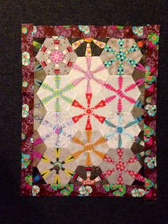 In Progress: Valse Brillante from Millefiori Quilts by Willyne Hammerstein in AMH Pretty Potent and Japanese taupes