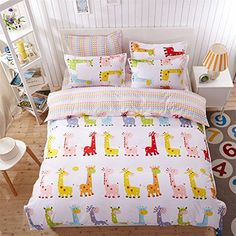 YeeKin Cartoon Colorful Giraffe Kid Bedding Sets 100% Polyester 4PC Duvet Cover Set No Fading(Twin Size) -- Awesome products selected by Anna Churchill