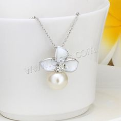 Glass Zinc Alloy Necklace, with Glass Pearl
