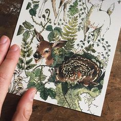 """✨Shop update✨Tomorrow @ 6pm PST, I will be listing some exciting new originals, along with a signed, limited edition series of 5x7"""" prints featuring my """"Flora and Fawna"""" Journal Page design #seewhatididthere"""