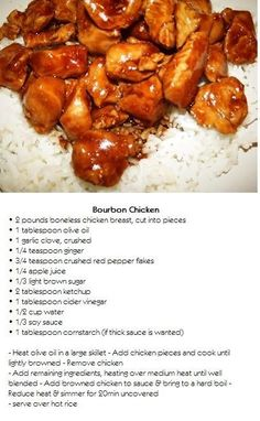 The best bourbon chicken recipe - Cooking Recipes - Recipes to try - Best Chicken Recipes Meat Recipes, Asian Recipes, Crockpot Recipes, Dinner Recipes, Cooking Recipes, Healthy Recipes, Chinese Food Recipes Chicken, Recipies, Dinner Ideas