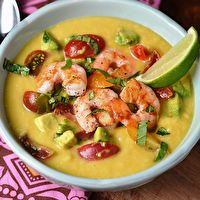 Chilled Corn Soup with Shrimp, Avocado and Tomato Relish by Clean Eating