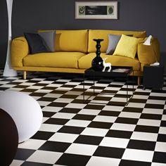 Monochrome Chic: black and white vinyl #lounge #interior #style