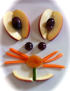 Bunny Made From Fruit - Nut and dairy free version using apples, grapes, carrots, dried apricots, and cucumber!