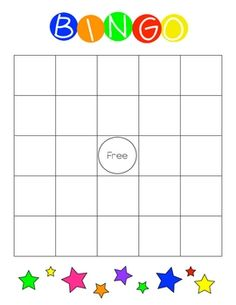 This is a blank BINGO card in color and black-line.   I plan to use it to teach sight words to my 5 year old.