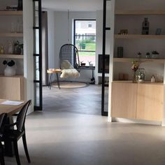 Superb combi-floor to be laid in the house in Blaricum. In this house, I have a herringbone design for pvc flooring, combined with a betondesignblaricum Beton Design, Concrete Design, Pvc Flooring, Floors, Home Living Room, New Homes, Interior Design, Architecture, House