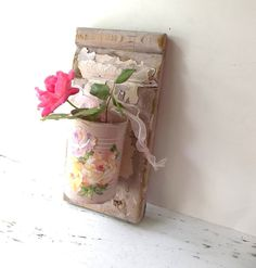 Country Cottage Vase Wood Wall decor Shabby Pink by 3vintagehearts,