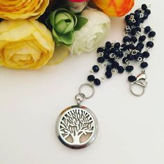 Stainless Steel Essential Oil Diffuser Necklace - Essential Oil Necklace - Diffuser Locket - Aromatherapy Necklace - Rosary Bead Chain by MotherDaughterJewel on Etsy