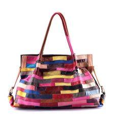 49.98$  Buy here - http://ali7ij.shopchina.info/go.php?t=32781972136 - Famous Brand Women Genuine Leather Handbag  Fashion Colorful Patchwork Handbag Female Big Bag Ladies Large Capacity Tote Bolsos  #bestbuy