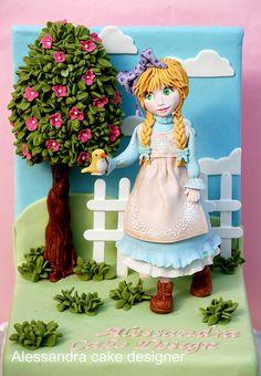 Incredibly detailed girl cake by Alessandra Cake Designer, via Fondant Figures, Fondant Cakes, Cupcake Cakes, Pretty Cakes, Cute Cakes, Beautiful Cakes, Amazing Cakes, Unique Cakes, Creative Cakes