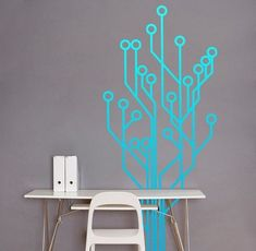 high tech themed kids bedroom - Google Search Office Interior Design, Office Interiors, Wall Stickers, Wall Decals, Modern Room Decor, Home Decor, Cartoon Wall, House Inside, Tree Wall