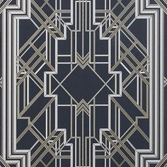 LOVE this very Gatsby-ish wallpaper designed by the set designer for The Great Gatsby: Metropolis Wallpaper 10487/ Marcasite 897 - MOKUM - Upholstery, Drapery, & Wallpaper