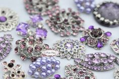 10pc Lavender Purple Assorted Rhinestone Flat by simplysassysource