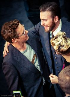Chris Evans and Robert Downey Jr at the premiere of AoU in London