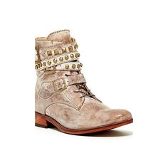 Patron Boots Studded Combat Boot ($125) ❤ liked on Polyvore featuring shoes, boots, ankle booties, ankle boots, taupe, short leather boots, studded ankle boots, leather bootie, taupe booties et army boots