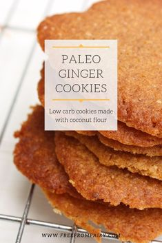 Ginger Biscuits, Food And Drinks, Paleo Ginger Cookies (Gluten Free, Refined Sugar Free). Sugar Free Cookies, Paleo Cookies, Ginger Cookies, Paleo Treats, Gluten Free Cookies, Sugar Free Biscuits, Gluten Free Biscuits, Paleo Food, Egg Free Recipes
