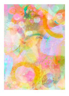 Summers Dream 3 abstract print with pastel by BerengereDucomsArt, $26.61