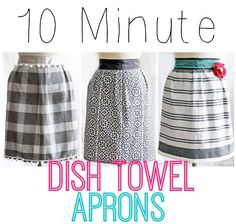 "1 dish towel, 85"" of ribbon, and 10 minutes of your time! Makes a cheap and easy gift! #apron #kitchen #sewing #beginner"