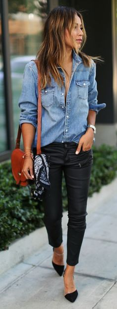 chambray + leather