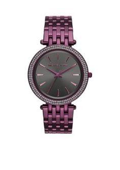 Michael Kors Womens Darci Plum IP Three-Hand Watch