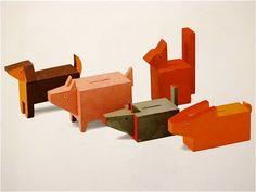 design-is-fine: Minka Podhajska, Set of small money boxes, 1930 Wooden Animal Toys, Wood Toys, Modern Toys, Dinosaur Toys, Kids Wood, Money Box, Designer Toys, Pet Toys, Vintage Toys