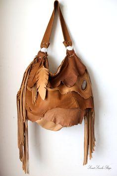 Oversized Boho Tribal leather raw edges gypset by SweetSmokebags