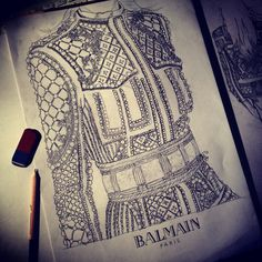Find images and videos about fashion, Balmain and scetch on We Heart It - the app to get lost in what you love. Fashion Design Sketchbook, Fashion Design Drawings, Fashion Sketches, Fashion Drawing Dresses, Fashion Illustration Dresses, Fashion Illustrations, Illustration Mode, Dress Sketches, Fashion Figures
