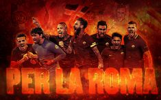 تحميل خلفيات روما, الإيطالي لكرة القدم, الفن, روما لكرة القدم اللاعبين, دوري الدرجة الاولى الايطالي, إيطاليا, دانييلي دي روسي, إدين دزيكو, اليساندرو وواصل فريق