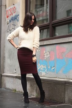 love this dark pencil skirt with black tights & booties; don't love the color of the sweater for me