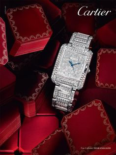 #Cartier Tank Anglaise #watch - Case in 18-carat rhodium-plated white gold. Middle set with brilliant-cut diamonds. Dial in 18-carat rhodium-plated white gold, set with brilliant-cut diamonds. Glass: sapphire. Bracelet in 18-carat rhodium-plated white gold, set with brilliant-cut diamonds. Clasp in 18-carat rhodium-plated white gold. Total: 13.3 carats.