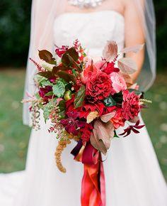 rustic red bridal bouquet | Jen Fariello Photography | blog.theknot.com