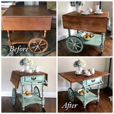 Vintage Tea Cart Makeover with Annie Sloan Provence & Old White Chalk Paint. This tea cart belonged to my husbands grandparents. I'm so happy it's found a place in our home. ❤#knottooshabbyny #chalkpaint #anniesloan