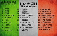 Italian lesson - vocabulary - the number #italianlessons