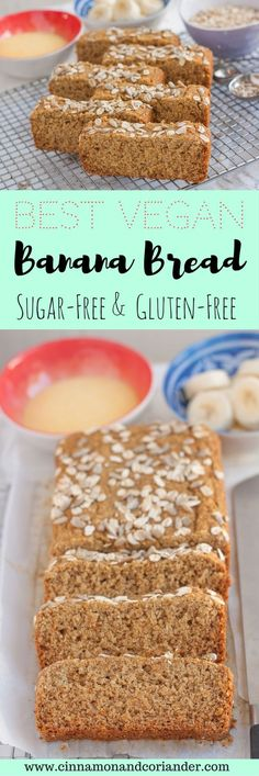 Best Vegan Banana Bread | No Sugar and Gluten-free | The best vegan banana bread I have ever tasted – naturally sweetened and gluten-free! The batter uses cornmeal and oat flour, which makes it both moist and fluffy. | #veganrecipes #vegandessert #veganfoodshare #sugarfreedessert #bananabread #glutenfreevegan #glutenfree, #cinnamonandcoriander