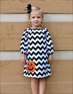 GREAT FOR HALLOWEEN toddler-girls long sleeve black chevron dress with orange jack-o-lantern applique sizes 6-12mo,12mo,18mo,2,3,4,5,6,7/8. $40.00, via Etsy.