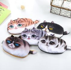 Vivid 3D Painting Chunky Cat Pencil Bag Stationery Storage Organizer Bag School Supply Student Prize