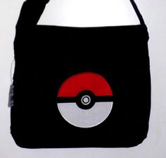 New style larger messenger bag Pokemon Pokeball black embroidered  embroidery applique messenger school bag Cute Pokemon aab2d89dab9f